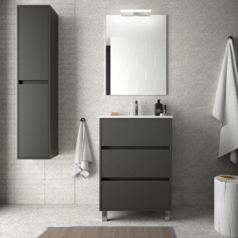 Mueble de baño de 60 cm en madera gris mate con lavabo de porcelana
