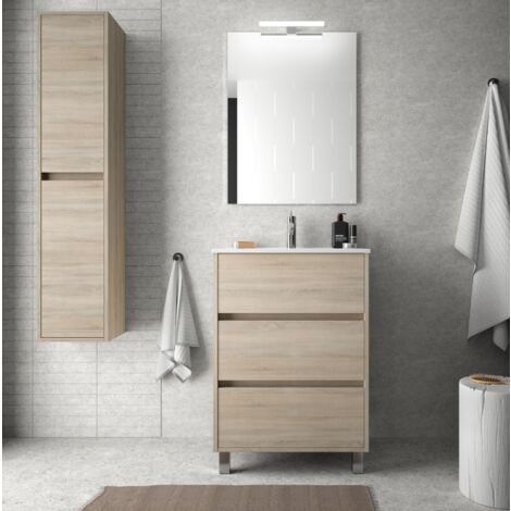 Mueble de baño de 60 cm en madera Roble Caledonia con lavabo de porcelana