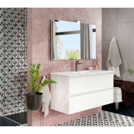Mueble de baño de pared de 100 cm Moon en madera Blanco brillante con lavabo y espejo con lámpara de leds   Con espejo y lámpara LED