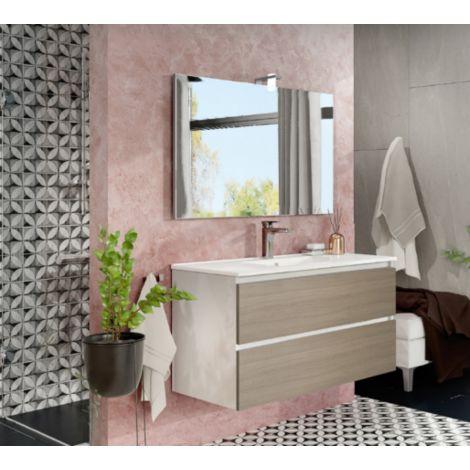 Mueble de baño de pared de 100 cm Moon en madera Roble ahumado con lavabo y espejo con lámpara de leds | Con espejo y lámpara LED