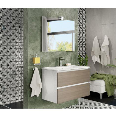 Mueble de baño de pared de 80 cm Moon en madera Roble ahumado con lavabo y espejo con lámpara de leds | Con espejo y lámpara LED