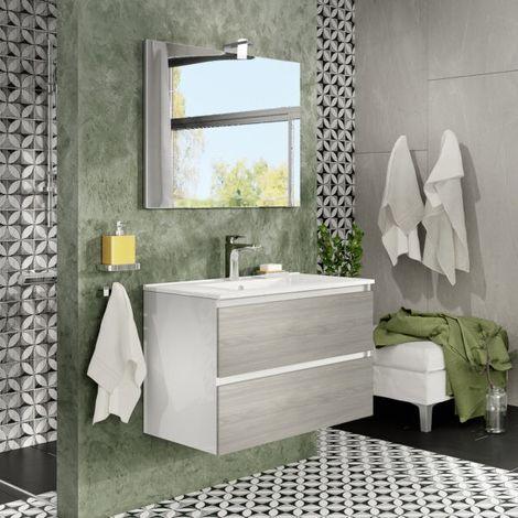 Mueble de baño de pared de 80 cm Moon en madera Roble gris con lavabo y espejo con lámpara de leds | Con espejo y lámpara LED