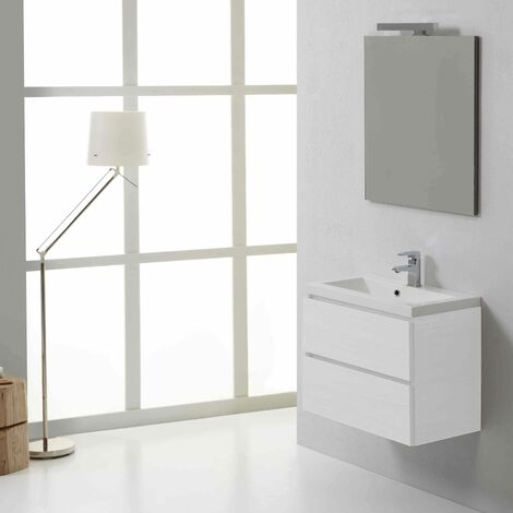 MUEBLE DE BAÑO DE PARED MANHATTAN 60 CM CON COMPARTIMIENTOS DE BLANCO BOSQUE