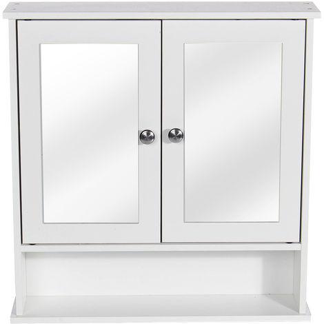 Mueble de baño de pared Mueble de inodoro - Cierre de 2 puertas con gabinete de espejo Almacenamiento Cocina LAVENTE