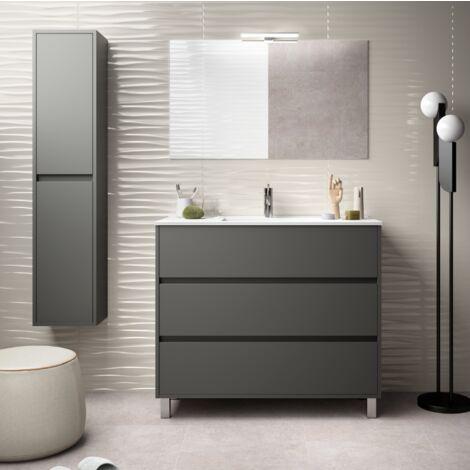 Mueble de baño de pie 100 cm de madera Gris Mate con lavabo de porcelana