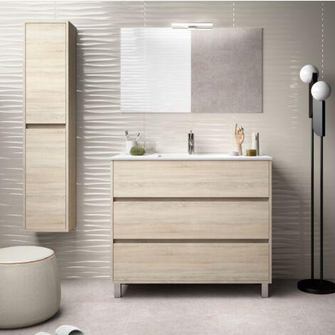 Mueble de baño de pie 100 cm de madera Roble Caledonia con lavabo de porcelana