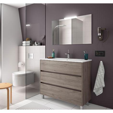 """main image of """"Mueble de baño de pie 100 cm de madera Roble Eternity con lavabo de porcelana"""""""