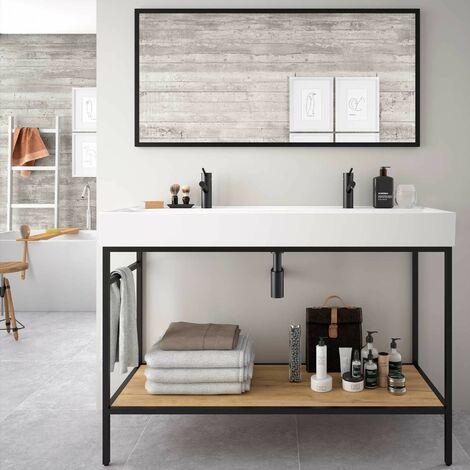 Mueble de baño de pie 120 cm con estructura de aluminio lacado negro mate y lavabo