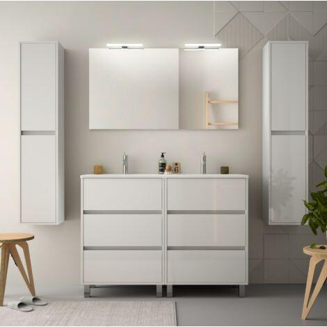Mueble de baño de pie 120 cm de madera Blanco Brillante con lavabo de porcelana