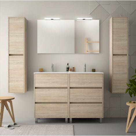 Mueble de baño de pie 120 cm de madera Roble Caledonia con lavabo de porcelana