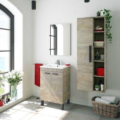 Mueble de baño de pie 50 cm Roble con Lavabo y Espejo