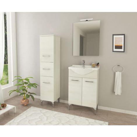 Mueble de baño de pie 55 cm Ambra de madera Roble blanco con lavabo de cerámica