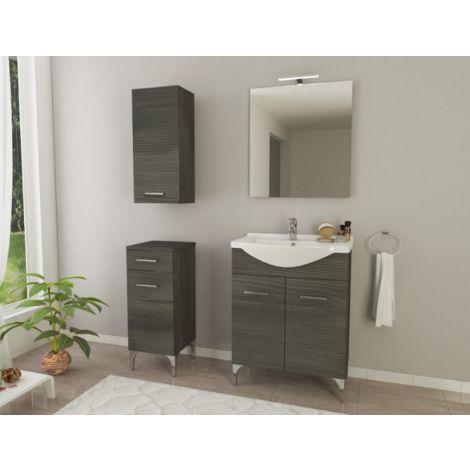 Mueble de baño de pie 55 cm Ambra de madera Roble oscuro con lavabo de cerámica