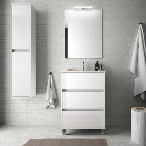 Mueble de baño de pie 60 cm en madera Blanco brillante con lavabo de porcelana