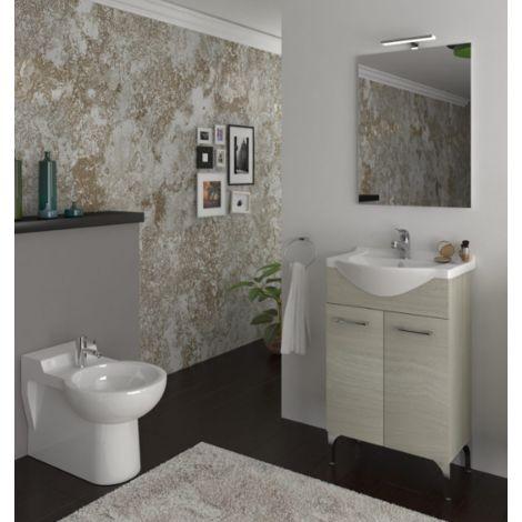 Mueble de baño de pie 65 cm Ambra de madera Roble gris con lavabo de cerámica