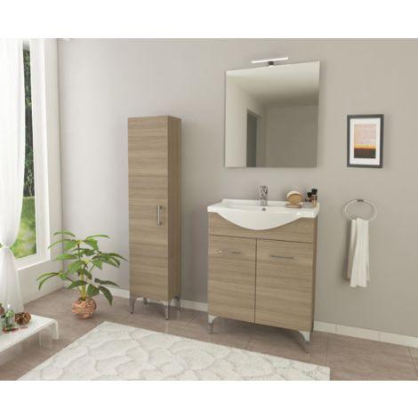 Mueble de baño de pie 65 cm Ambra en madera Roble Fumo con lavabo de cerámica