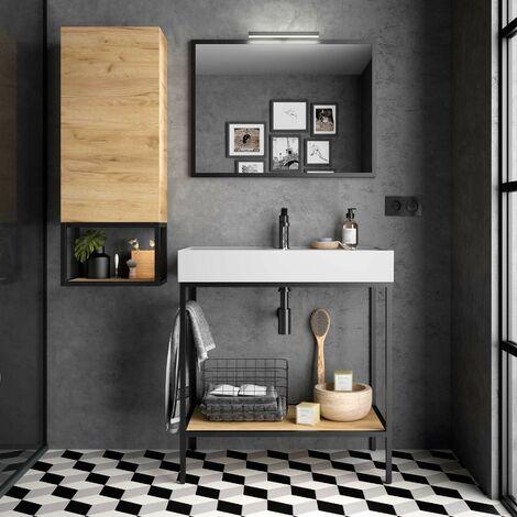 Mueble de baño de pie 80 cm con estructura de aluminio lacado negro mate y lavabo