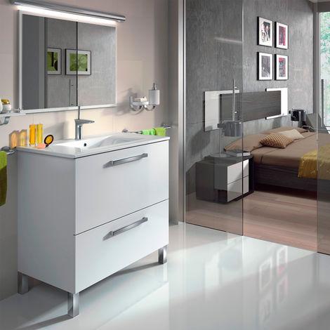 Mueble de baño de pie 80 cm couleur Natural con espejo