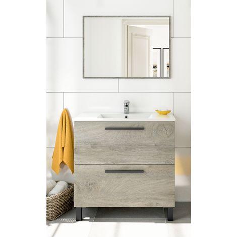 Mueble de baño de pie 80 cm Roble con Lavabo y Espejo