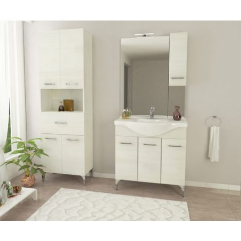 Mueble de baño de pie 85 cm Ambra de madera Roble blanco con lavabo de cerámica | Standard - 85 cm - Roble Blanco