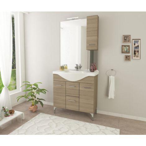 Mueble de baño de pie 85 cm Ambra de madera Roble Humo con lavabo de cerámica | Standard - 85 cm - Roble Smoke