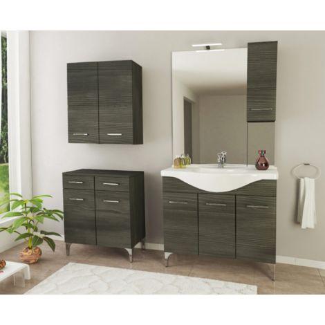 Mueble de baño de pie 85 cm Ambra de madera Roble oscuro con lavabo de cerámica | roble oscuro - Standard - 85 cm