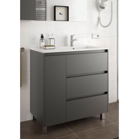 Mueble de baño de pie 85 cm de madera Gris Mate con lavabo bañera a la derecha