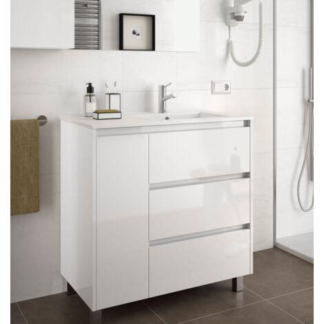 Mueble de baño de pie 85 cm de madera lacado blanco brillante con lavabo bañera a la derecha