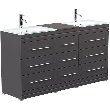 Mueble de baño de pie Vitro moderno con lavabos de cristal Antracita satinado