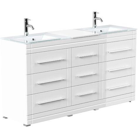Mueble de baño de pie Vitro moderno con lavabos de cristal Blanco brillante