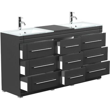 Mueble de baño de pie Vitro moderno con lavabos de cristal Negro satinado