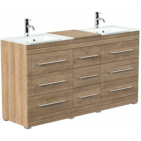 Mueble de baño de pie Vitro moderno con lavabos de cristal Roble claro