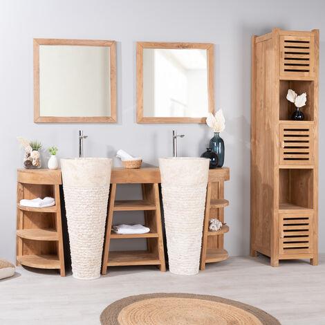 Mueble de baño de teca Florencia doble 180cm + lavabos crema