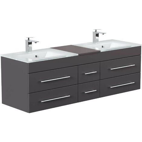 Mueble de baño duplo Vitro XL con lavabos de cristal in Antracita satinado