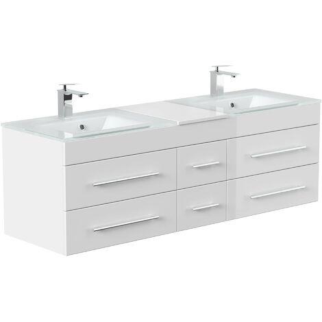 Mueble de baño duplo Vitro XL con lavabos de cristal in Blanco brillante