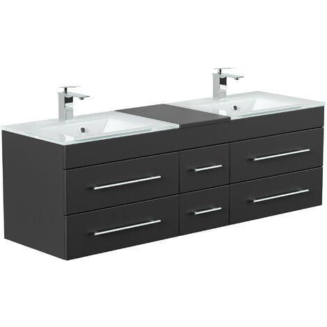 Mueble de baño duplo Vitro XL con lavabos de cristal in Negro satinado