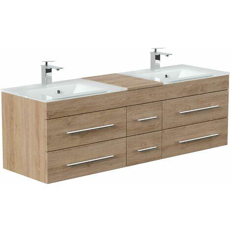 Mueble de baño duplo Vitro XL con lavabos de cristal in Roble claro