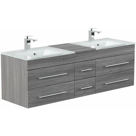 Mueble de baño duplo Vitro XL con lavabos de cristal in Roble plateado