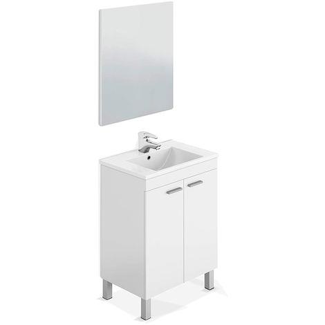 Mueble de baño + espejo + lavabo blanco 2 puertas Basic