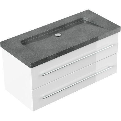 Mueble de baño granito G654 Damo 100 cm sin agujero para grifo Blanco brillo