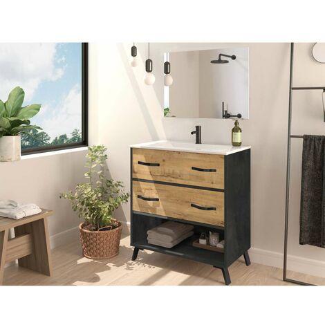 Mueble de baño Hudson 81 cm con lavabo y espejo.