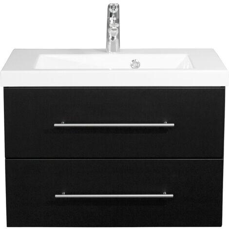 Mueble de baño Infinity 700 Negro satinado Lavabo de fundición mineral