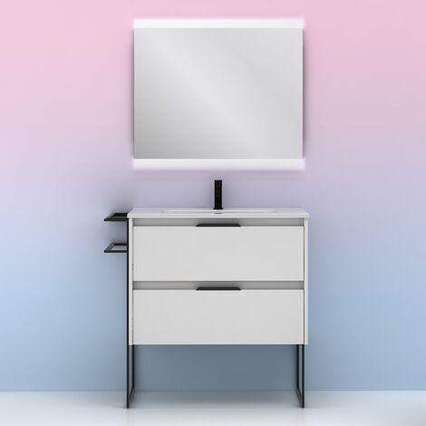 Mueble lavabo KEIKO. Opción Blanco, Gris y Fumé. BLANCO BRILLO 80 cm