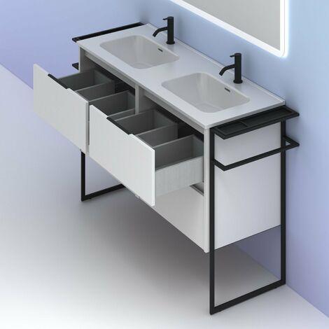 Mueble lavabo KEIKO. Opción Blanco, Gris y Fumé. BLANCO BRILLO 120 cm