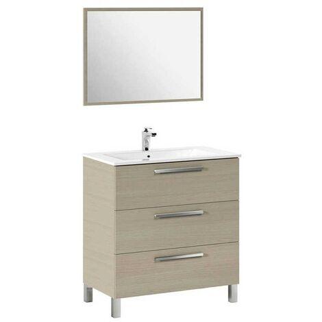 Mueble de baño, lavamanos ?(opcional) y espejo, Taria 86x80 Roble