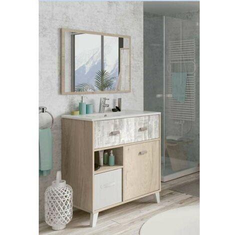 Mueble de baño Lena 82 cm con lavabo y espejo.