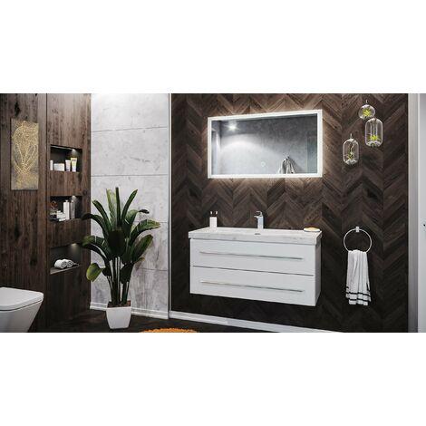 Mueble de baño mármol Carrara Blanco Damo 100cm 1 agujero grifo Blanco y espejo