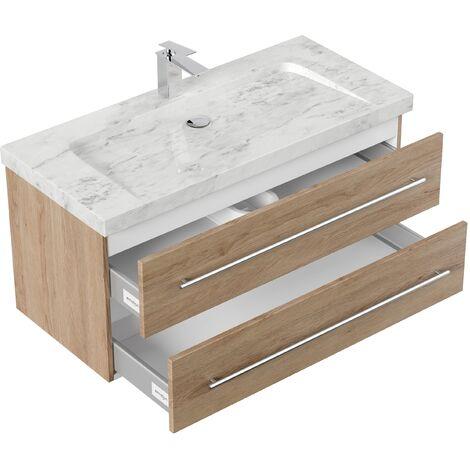 Mueble de baño mármol Carrara Blanco Damo 100cm 1 agujero para grifo Roble claro