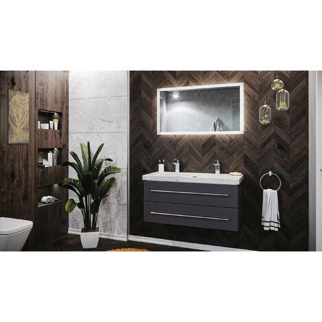 Mueble de baño mármol Carrara Blanco Damo 100cm 2 agujero Antracita y espejo