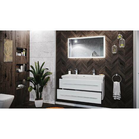 Mueble de baño mármol Carrara Blanco Damo 100cm 2 agujero Blanco brillo y espejo